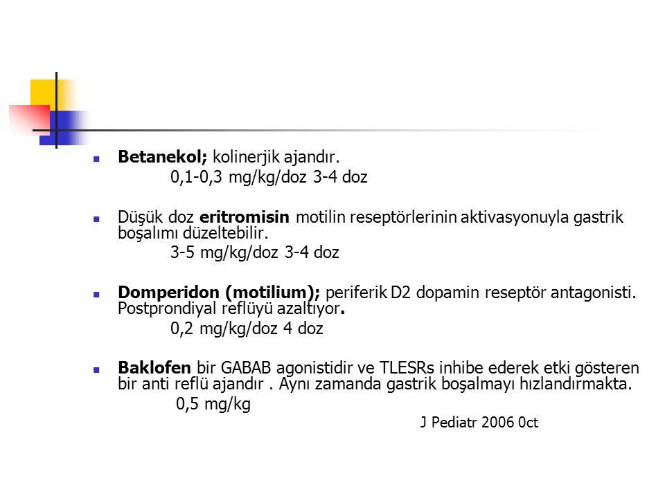 Betanekol; kolinerjik ajandır. 0,1-0,3 mg/kg/doz 3-4 doz