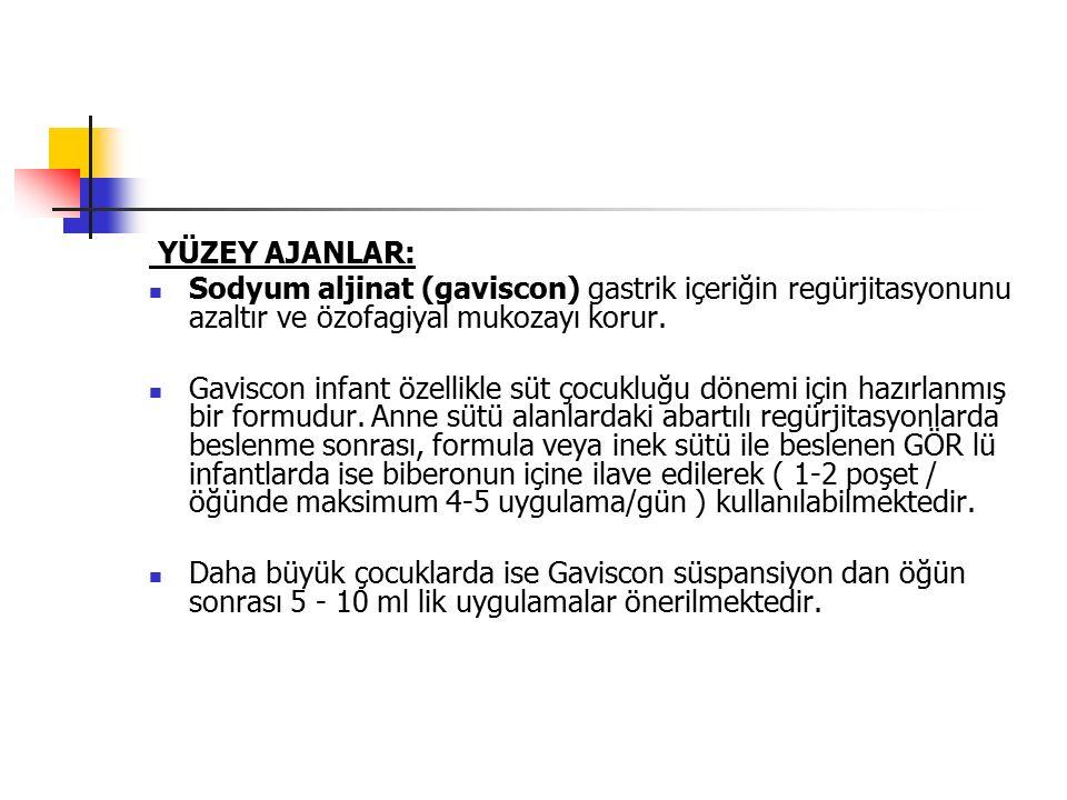 YÜZEY AJANLAR: Sodyum aljinat (gaviscon) gastrik içeriğin regürjitasyonunu azaltır ve özofagiyal mukozayı korur.