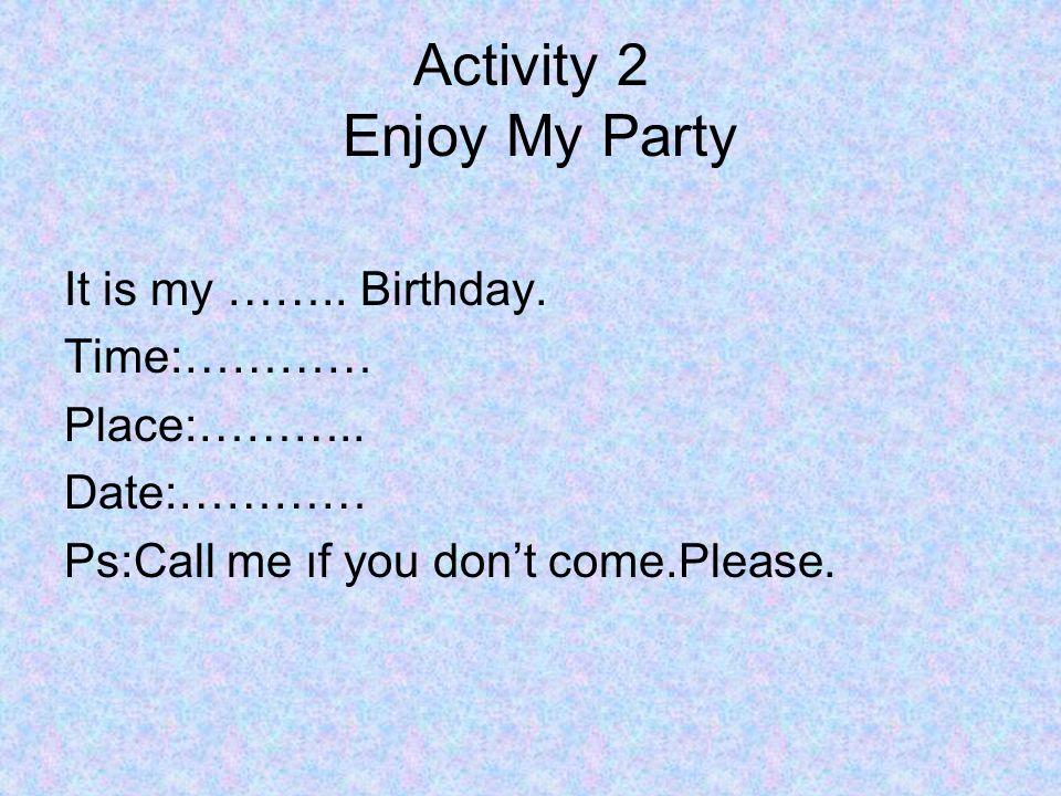 Activity 2 Enjoy My Party