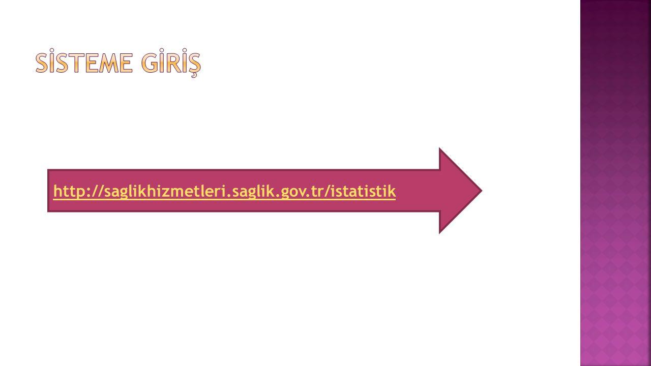 SİSTEME GİRİŞ http://saglikhizmetleri.saglik.gov.tr/istatistik