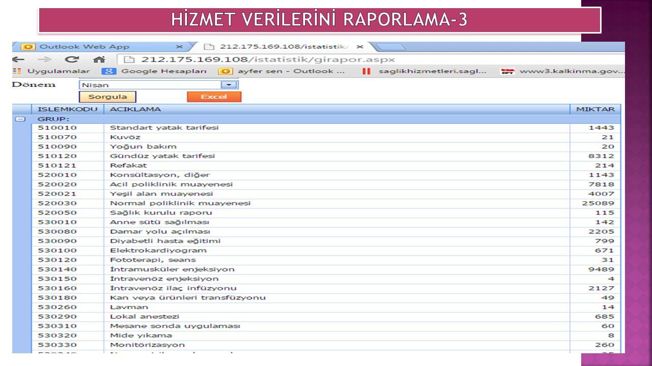 HİZMET VERİLERİNİ RAPORLAMA-3