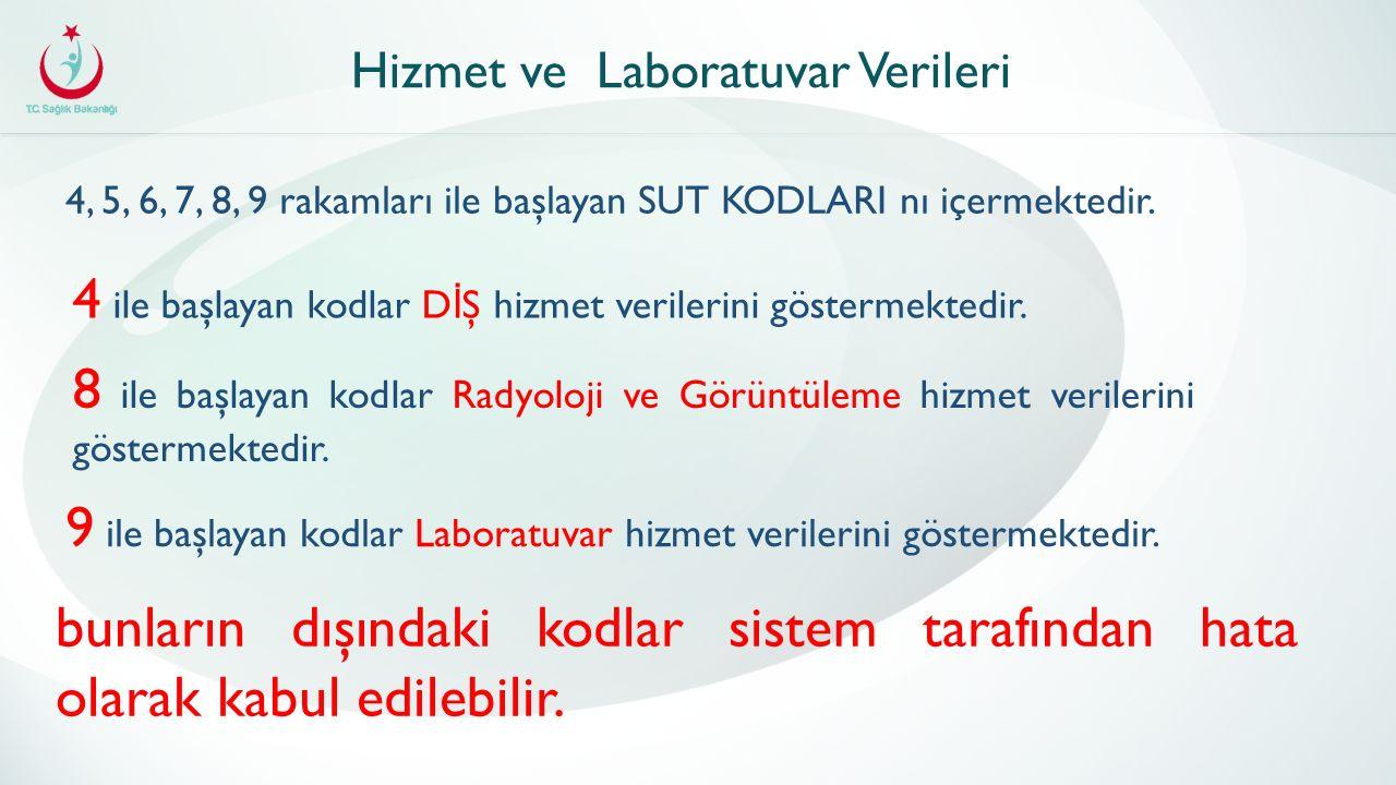 Hizmet ve Laboratuvar Verileri