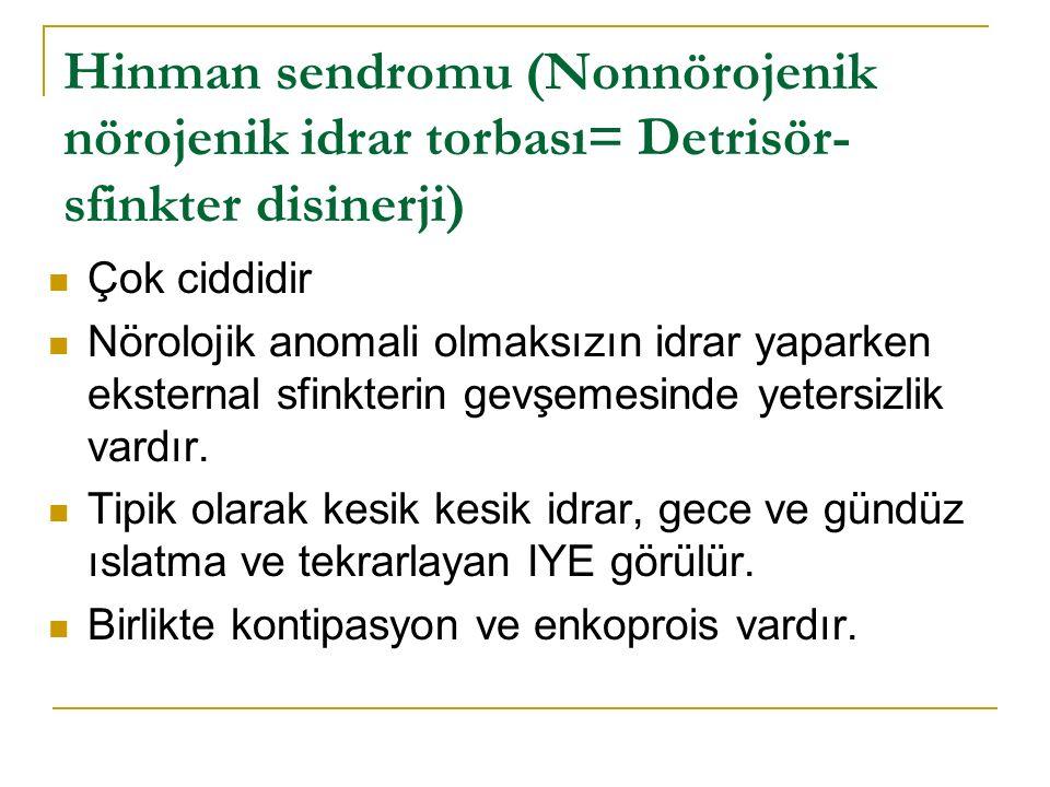 Hinman sendromu (Nonnörojenik nörojenik idrar torbası= Detrisör-sfinkter disinerji)