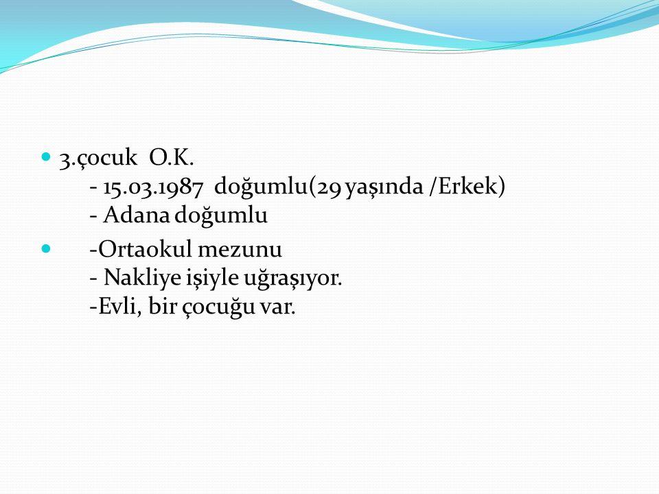 3.çocuk O.K. - 15.03.1987 doğumlu(29 yaşında /Erkek) - Adana doğumlu