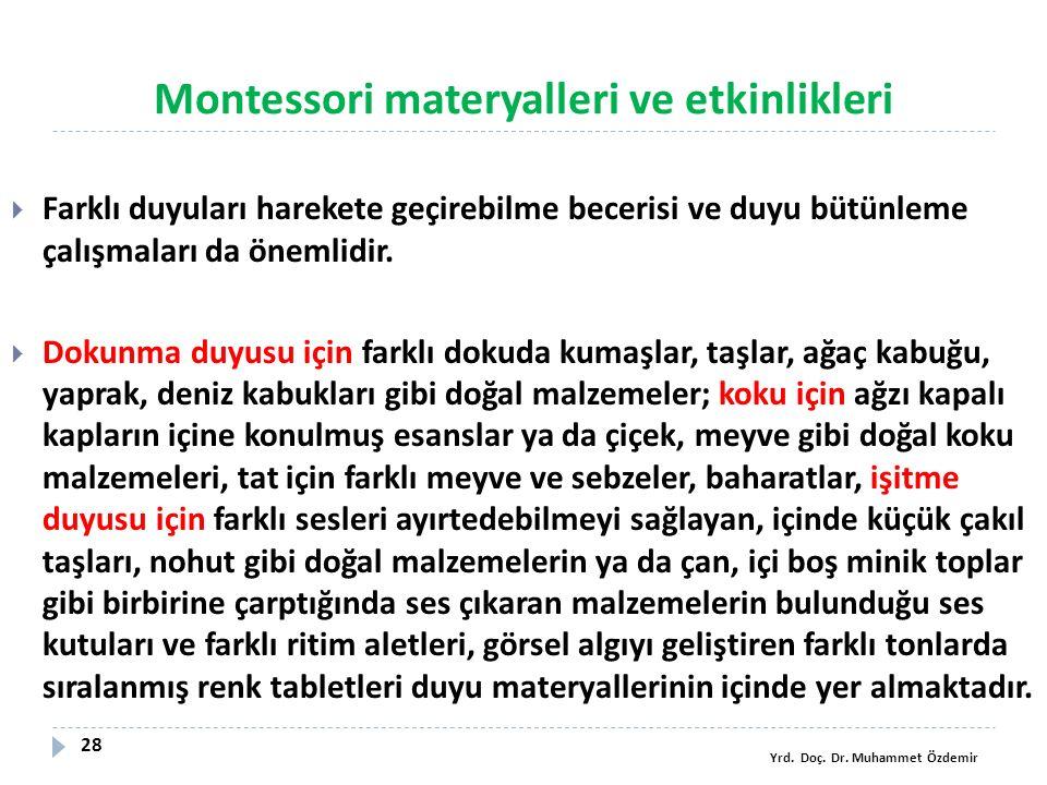 Montessori materyalleri ve etkinlikleri