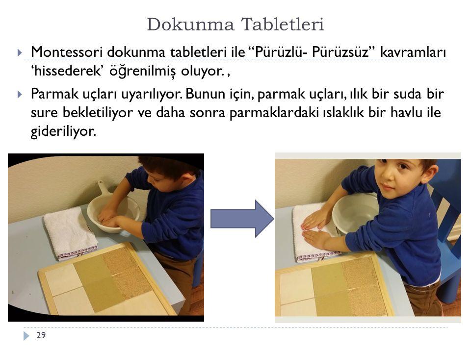 Dokunma Tabletleri Montessori dokunma tabletleri ile Pürüzlü- Pürüzsüz kavramları 'hissederek' öğrenilmiş oluyor. ,