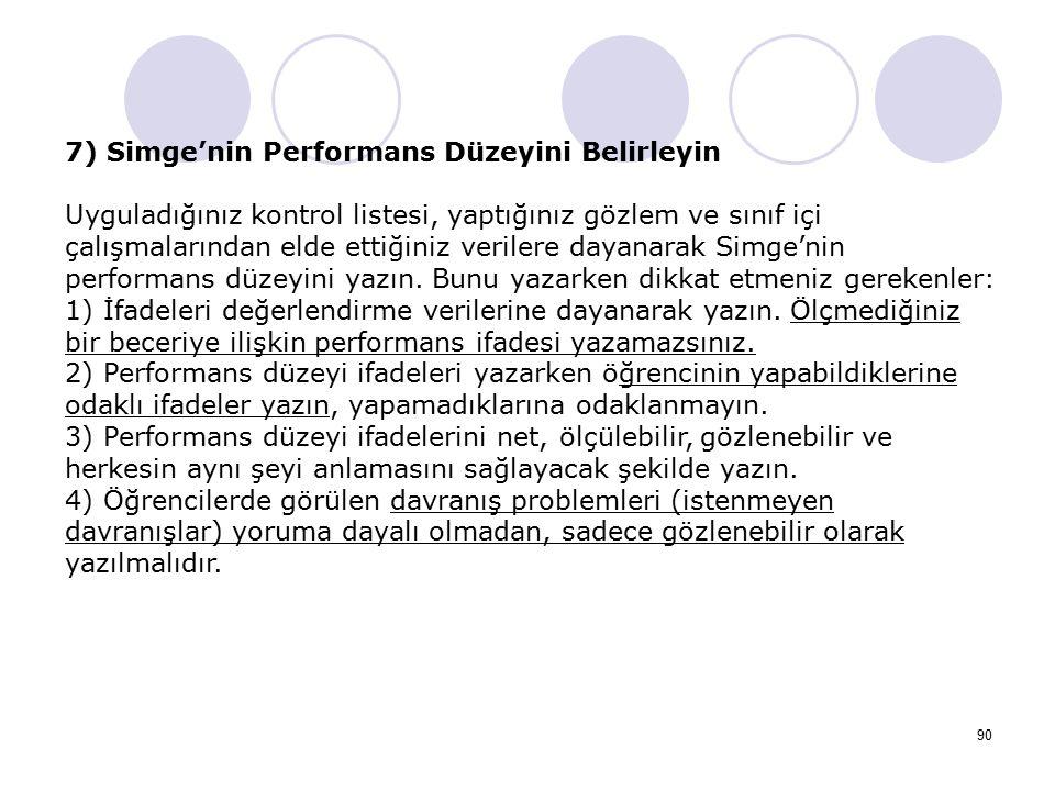 7) Simge'nin Performans Düzeyini Belirleyin