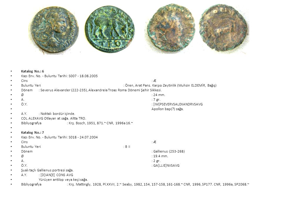 Katalog No.: 6 Kazı Env. No. - Buluntu Tarihi : S007 - 18.08.2005. Cins : Æ.