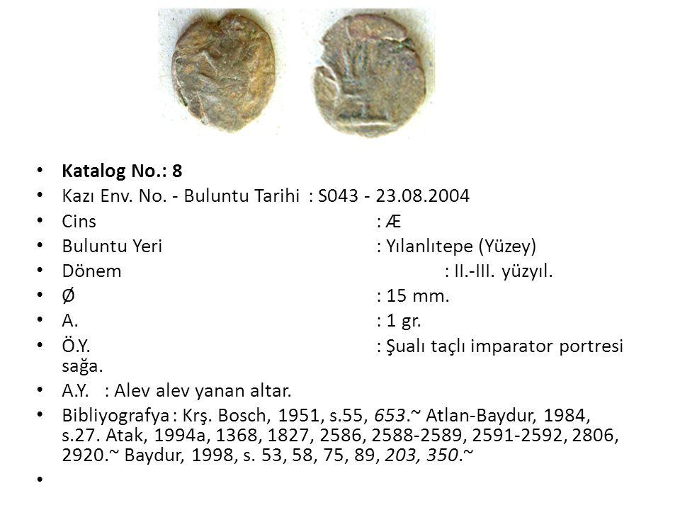 Katalog No.: 8 Kazı Env. No. - Buluntu Tarihi : S043 - 23.08.2004. Cins : Æ. Buluntu Yeri : Yılanlıtepe (Yüzey)