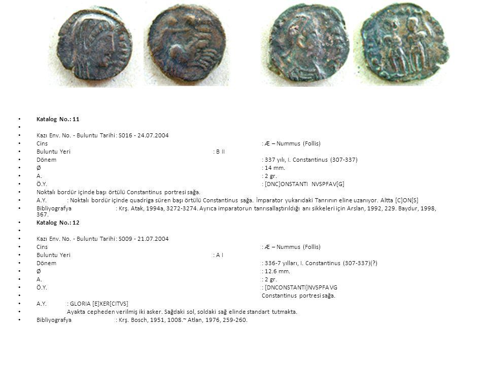 Katalog No.: 11 Kazı Env. No. - Buluntu Tarihi : S016 - 24.07.2004. Cins : Æ – Nummus (Follis)