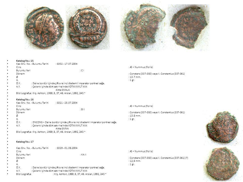 Katalog No.: 15 Kazı Env. No. - Buluntu Tarihi : S002 - 17.07.2004. Cins : Æ – Nummus (Follis)