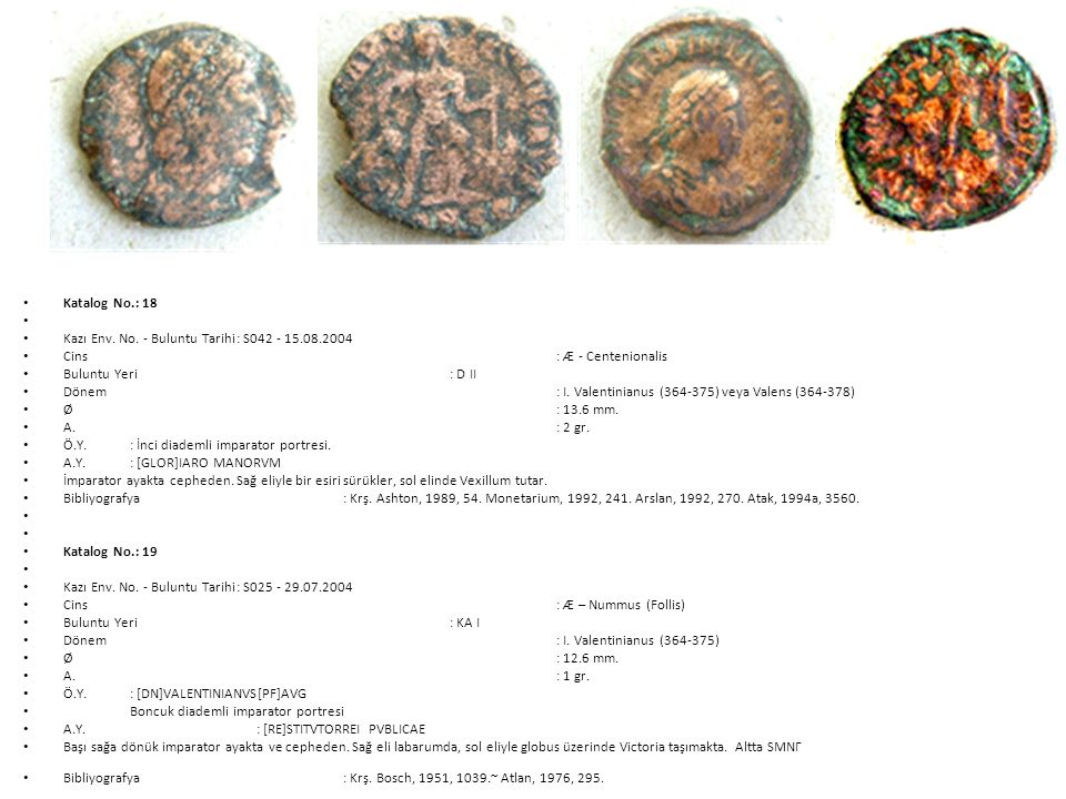 Katalog No.: 18 Kazı Env. No. - Buluntu Tarihi : S042 - 15.08.2004. Cins : Æ - Centenionalis.