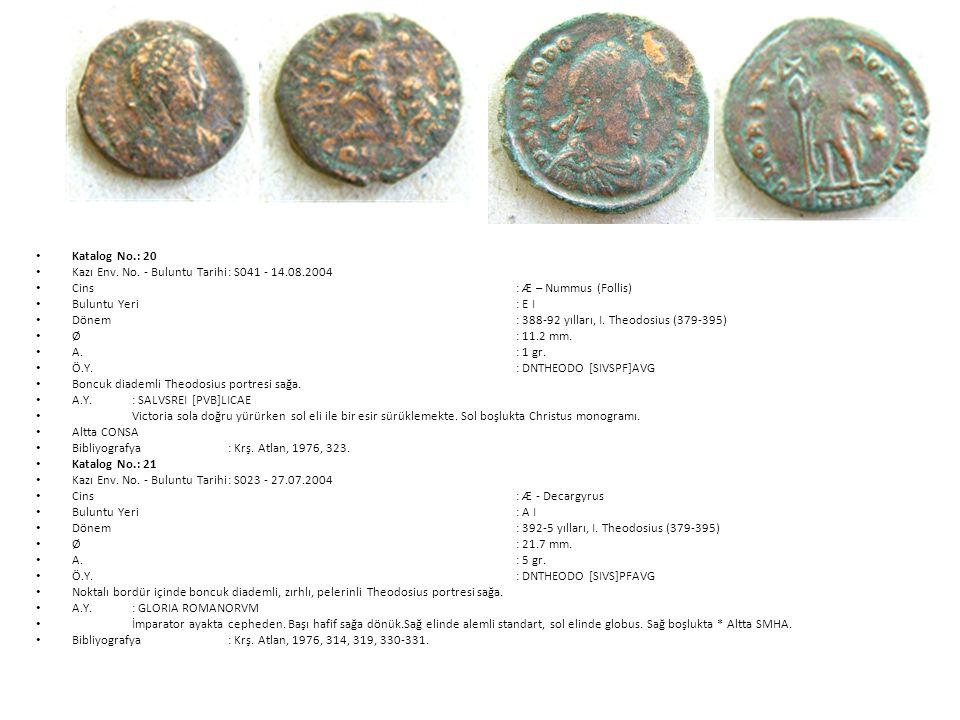 Katalog No.: 20 Kazı Env. No. - Buluntu Tarihi : S041 - 14.08.2004. Cins : Æ – Nummus (Follis)