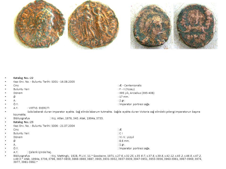 Katalog No.: 22 Kazı Env. No. - Buluntu Tarihi : S001 - 16.08.2005. Cins : Æ - Centenionalis. Buluntu Yeri : F - II (Yüzey)