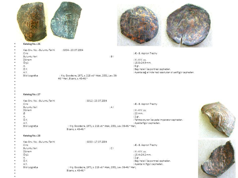Katalog No.: 26 Kazı Env. No. - Buluntu Tarihi : S004 - 20.07.2004. Cins : Æ - B. Aspron Trachy.