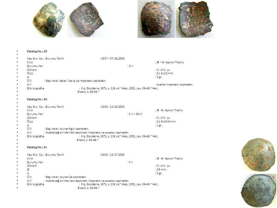Katalog No.: 29 Kazı Env. No. - Buluntu Tarihi : S037 - 07.08.2004. Cins : Æ – B. Aspron Trachy.