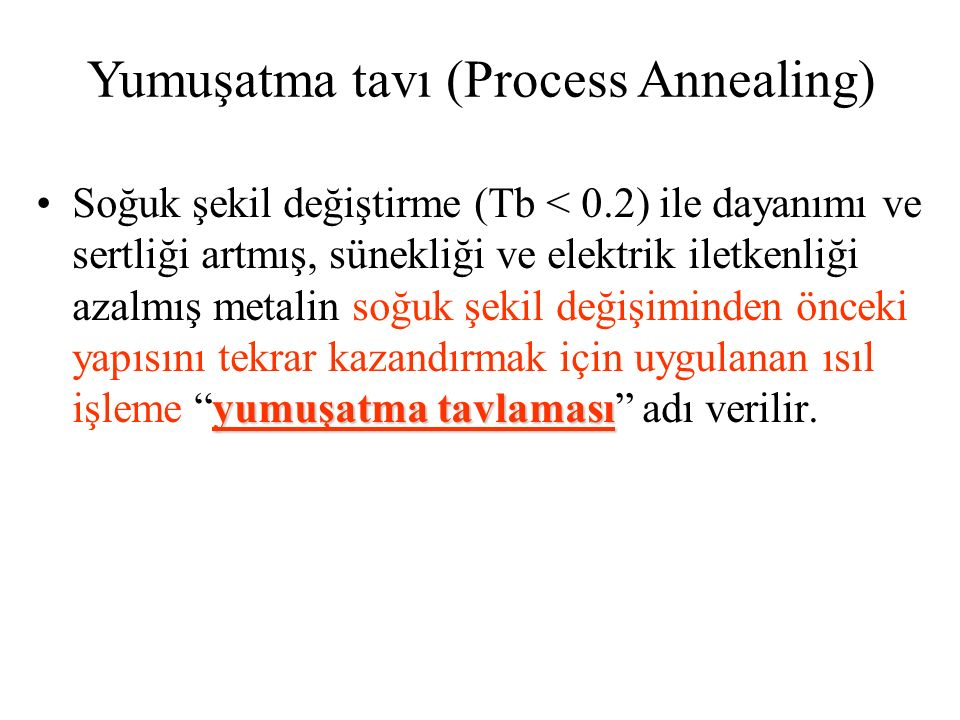 Yumuşatma tavı (Process Annealing)