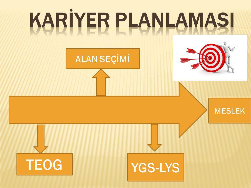 KARİYER PLANLAMASI ALAN SEÇİMİ MESLEK TEOG YGS-LYS