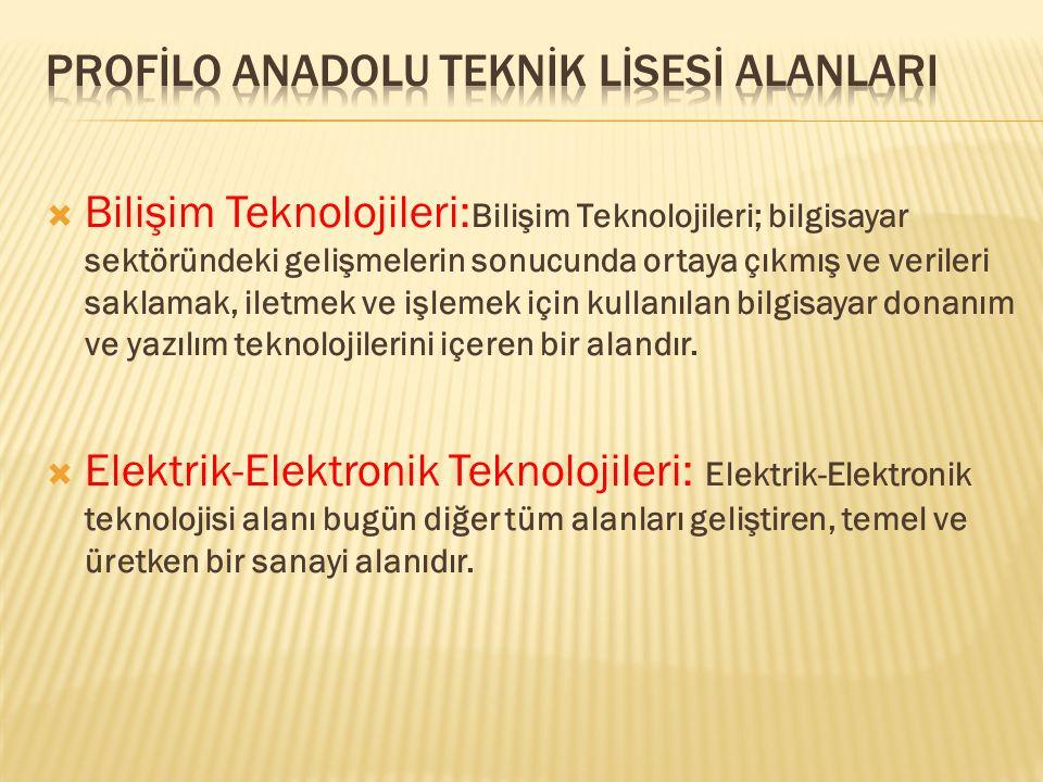 Profİlo Anadolu Teknİk Lİsesİ AlanlarI