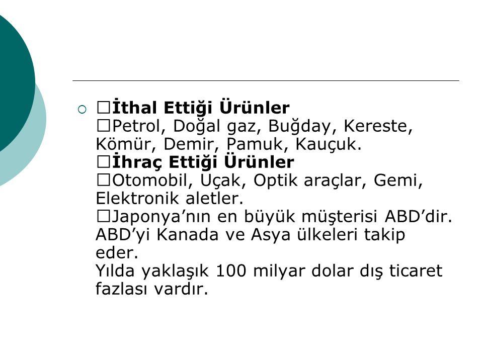 —İthal Ettiği Ürünler —Petrol, Doğal gaz, Buğday, Kereste, Kömür, Demir, Pamuk, Kauçuk.