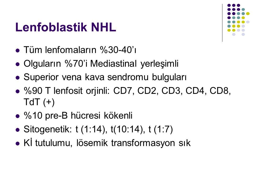 Lenfoblastik NHL Tüm lenfomaların %30-40'ı