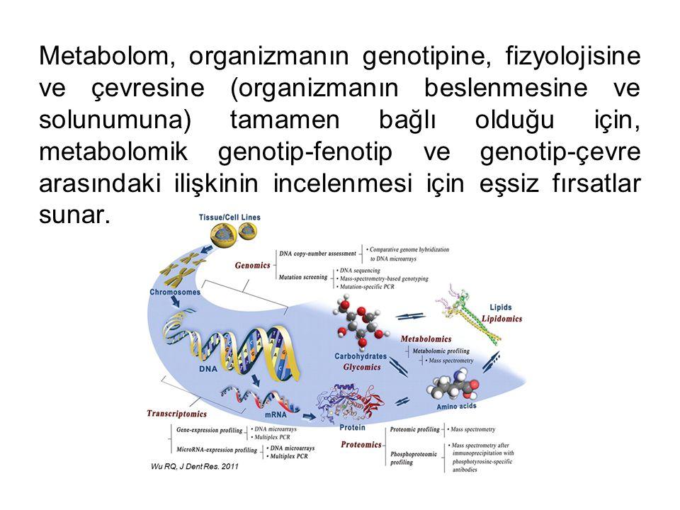 Metabolom, organizmanın genotipine, fizyolojisine ve çevresine (organizmanın beslenmesine ve solunumuna) tamamen bağlı olduğu için, metabolomik genotip-fenotip ve genotip-çevre arasındaki ilişkinin incelenmesi için eşsiz fırsatlar sunar.