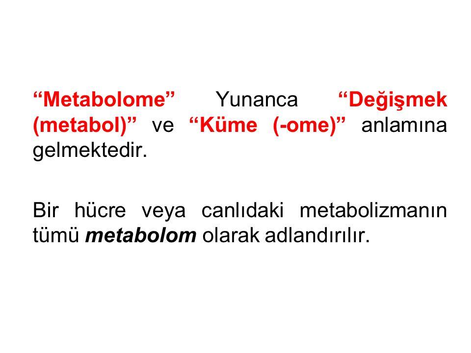 Metabolome Yunanca Değişmek (metabol) ve Küme (-ome) anlamına gelmektedir.
