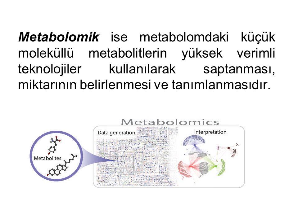 Metabolomik ise metabolomdaki küçük moleküllü metabolitlerin yüksek verimli teknolojiler kullanılarak saptanması, miktarının belirlenmesi ve tanımlanmasıdır.
