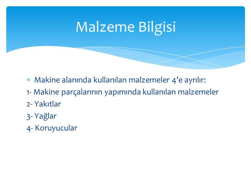 Malzeme Bilgisi Makine alanında kullanılan malzemeler 4'e ayrılır:
