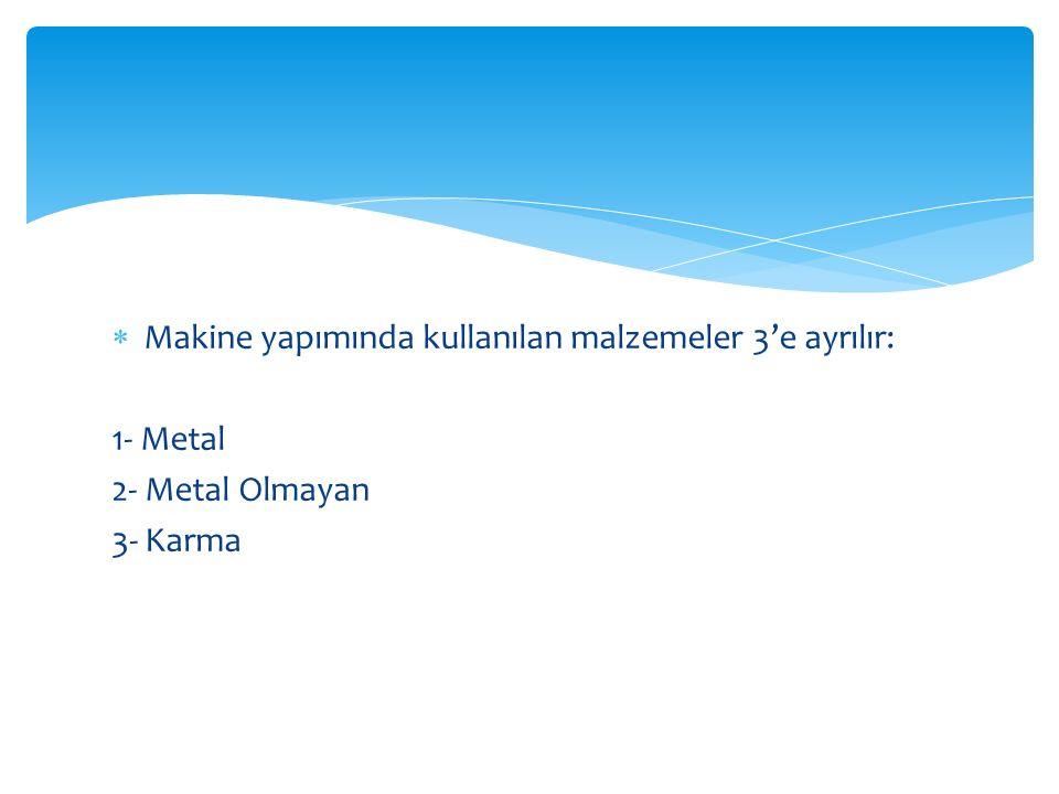 Makine yapımında kullanılan malzemeler 3'e ayrılır: