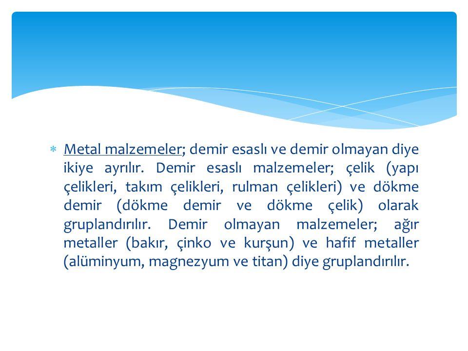 Metal malzemeler; demir esaslı ve demir olmayan diye ikiye ayrılır