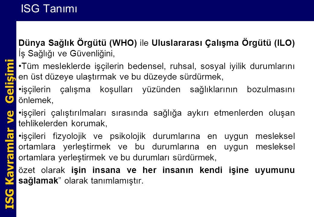 ISG Tanımı Dünya Sağlık Örgütü (WHO) ile Uluslararası Çalışma Örgütü (ILO) İş Sağlığı ve Güvenliğini,