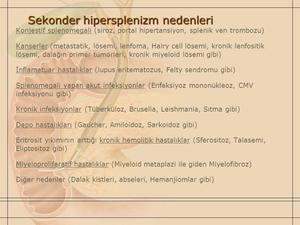 Sekonder hipersplenizm nedenleri