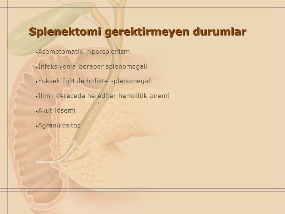 Splenektomi gerektirmeyen durumlar
