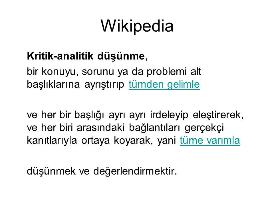 Wikipedia Kritik-analitik düşünme,