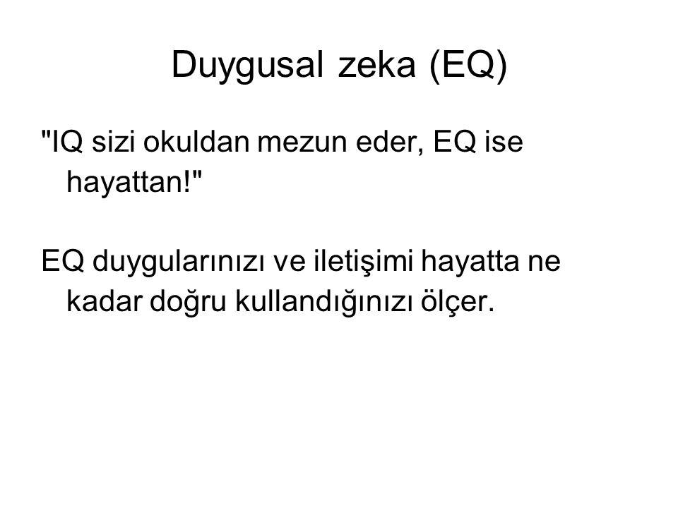 Duygusal zeka (EQ) IQ sizi okuldan mezun eder, EQ ise hayattan!