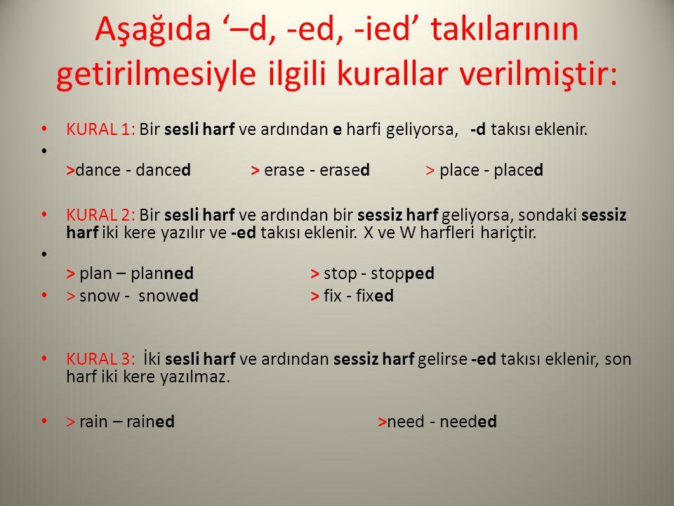 Aşağıda '–d, -ed, -ied' takılarının getirilmesiyle ilgili kurallar verilmiştir: