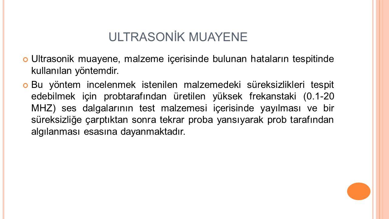 ULTRASONİK MUAYENE Ultrasonik muayene, malzeme içerisinde bulunan hataların tespitinde kullanılan yöntemdir.