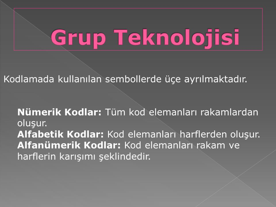 Grup Teknolojisi Kodlamada kullanılan sembollerde üçe ayrılmaktadır.