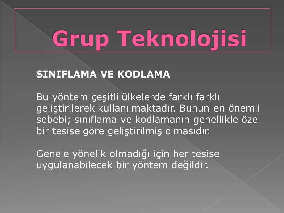 Grup Teknolojisi SINIFLAMA VE KODLAMA