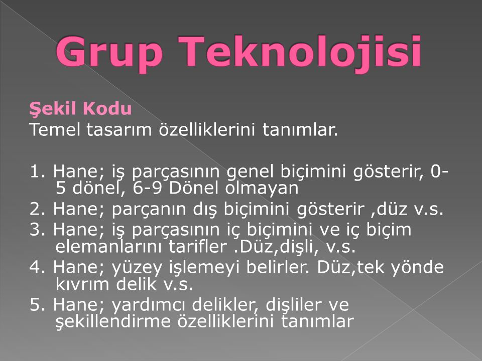 Grup Teknolojisi Şekil Kodu Temel tasarım özelliklerini tanımlar.