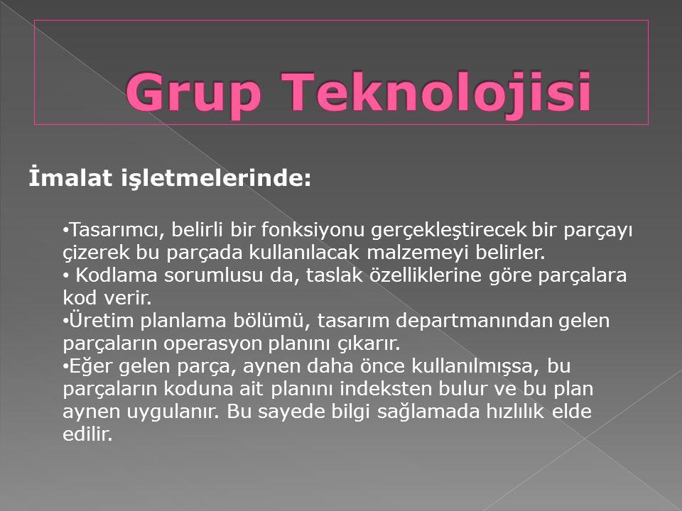 Grup Teknolojisi İmalat işletmelerinde: