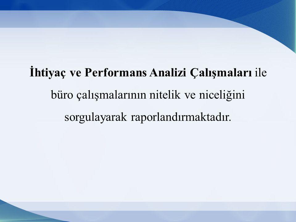 İhtiyaç ve Performans Analizi Çalışmaları ile büro çalışmalarının nitelik ve niceliğini sorgulayarak raporlandırmaktadır.