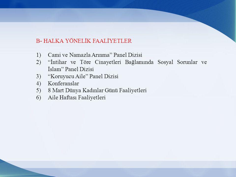 B- HALKA YÖNELİK FAALİYETLER