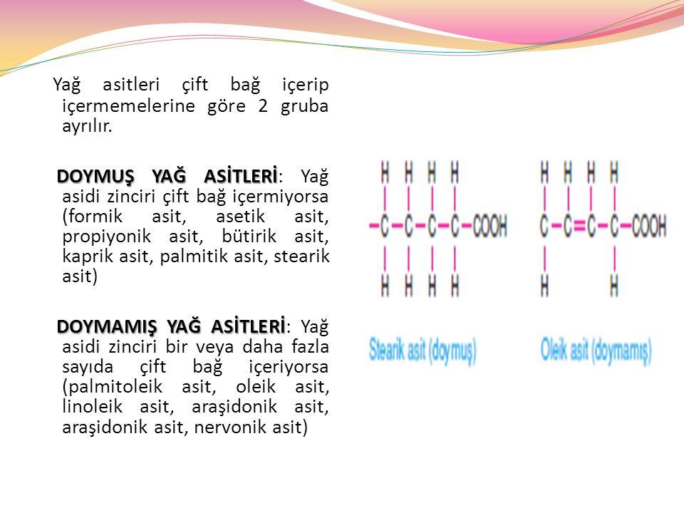 Yağ asitleri çift bağ içerip içermemelerine göre 2 gruba ayrılır.
