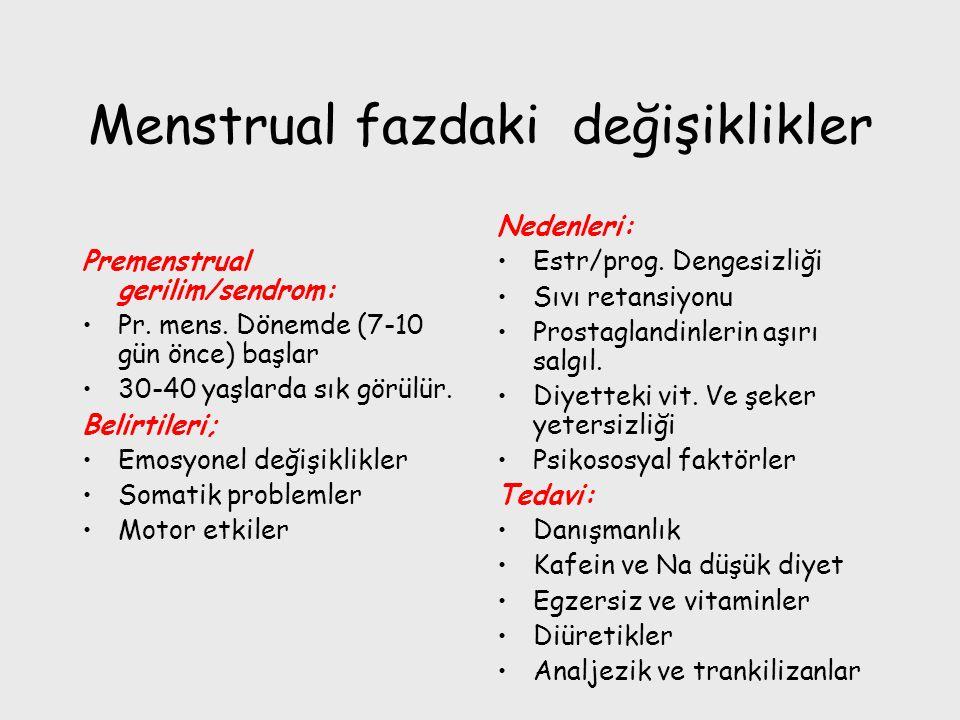 Menstrual fazdaki değişiklikler