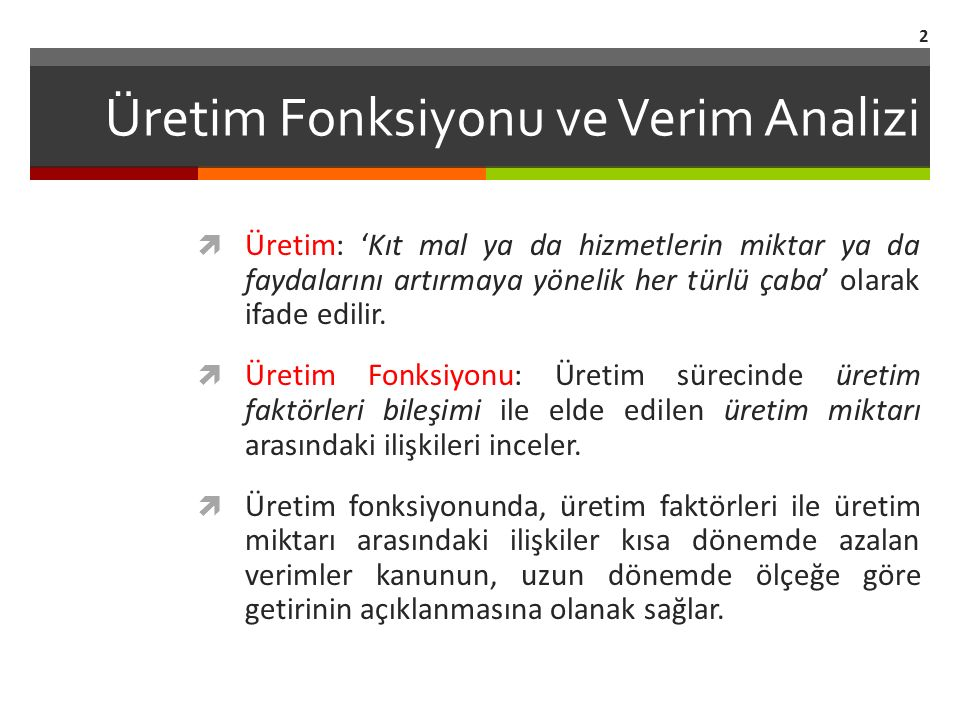 Üretim Fonksiyonu ve Verim Analizi