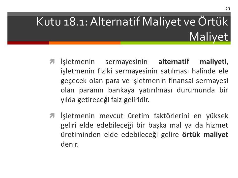 Kutu 18.1: Alternatif Maliyet ve Örtük Maliyet