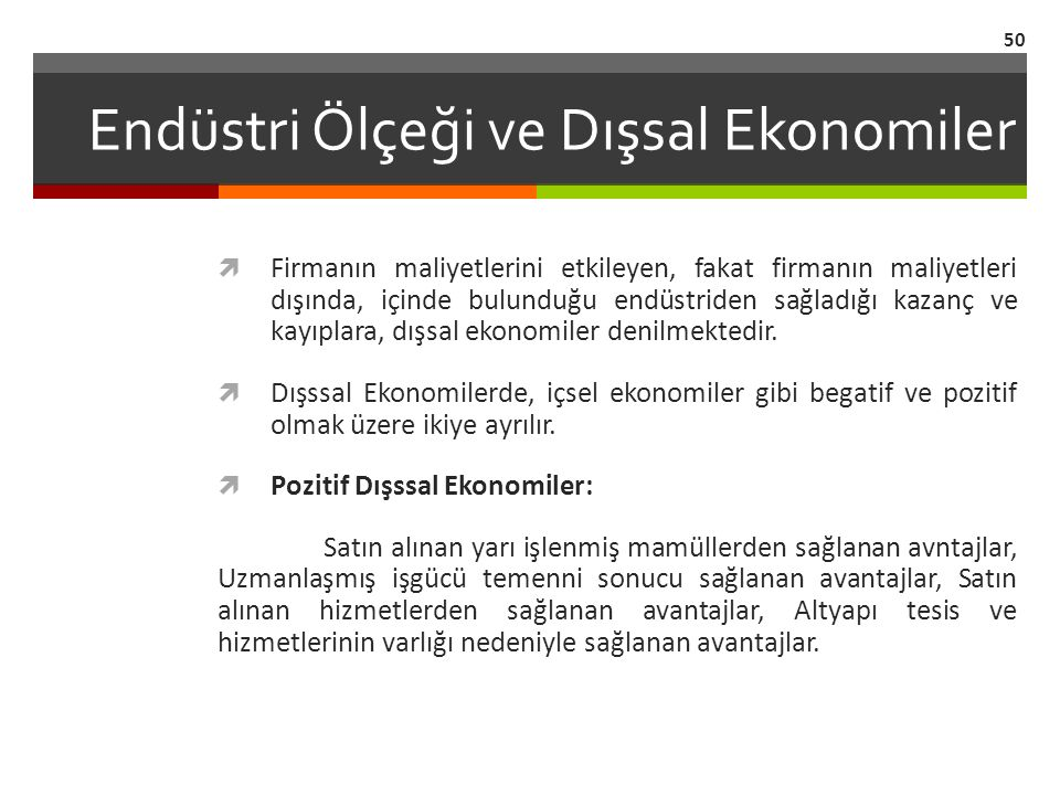 Endüstri Ölçeği ve Dışsal Ekonomiler