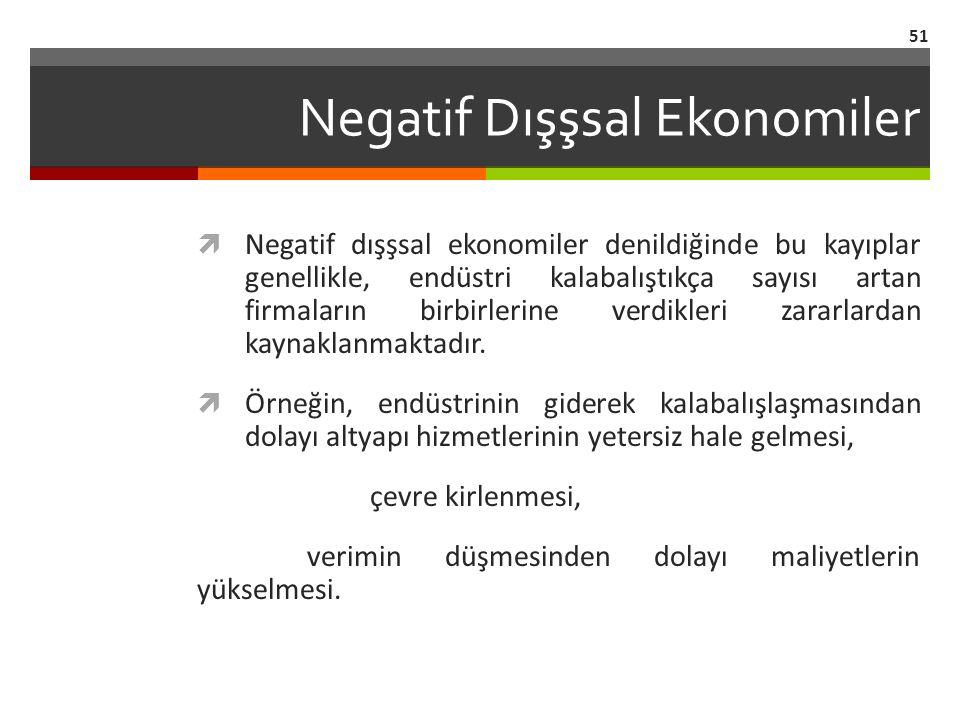 Negatif Dışşsal Ekonomiler